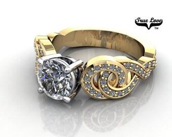 Moissanite Engagement Ring 14kt Yellow Gold, Trek Quality #1, Wedding Ring, Side Moissanites #7067