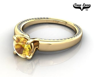 14 kt. Yellow Gold True Love Round  Chatham Lab created Yellow Sapphire  with Accent Moissanites  Engagement Ring. #6707
