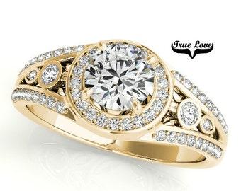 Moissanite Engagement Ring 14kt Yellow Gold, Wedding Ring, Bezel Setting, Split Shank, Side Moissanites #7310