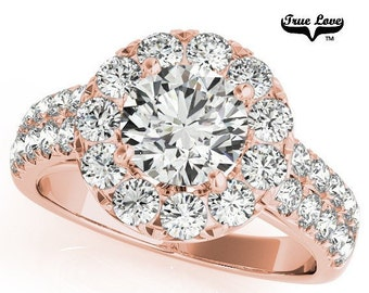 14 kt. Rose Gold Halo Centre .66 Carat Round Forever Brilliant Cut Moissanite With .83 Carat Halo and side Moissanites Engagement Ring #6857