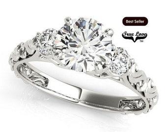 1 Carat Moissanite Engagement Ring 14kt White Gold, Trek Quality #1, Three Stone, SideMoissanites, Past Present Future, Decorative #7493