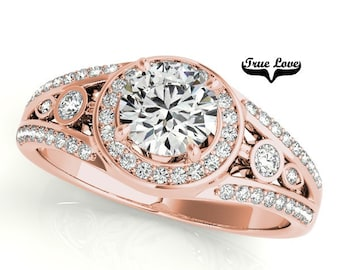 Moissanite Engagement Ring 14kt Rose Gold, Trek Quality #1, Wedding Ring, Bezel Set, Split Shank, Side Moissanites  #7311