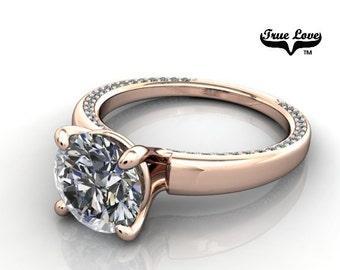 2 Carat Moissanite Engagement Ring 14kt Rose Gold, Trek Quality #1, Wedding Ring, Decorative moissanites – True Love #6704