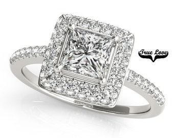 Two Carat Moissanite D-E Color  Engagement Ring 14kt White Gold, Trek Quality #1, Wedding Ring, Halo Engagement #7272