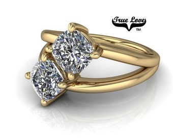 NEW! Two Stone 14  kt. Yellow Gold  6 mm 2.10 Carat Total weight Cushion Cut Trek Quality #1 Moissanite Engagement Ring #7761