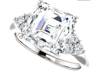 1.25,2.50 or 4 Carat Moissanite Trek Quality #1  VVs Clarity D E colorless  or GH Color as Listed Asscher Cut,14 kt White Gold,   #8314