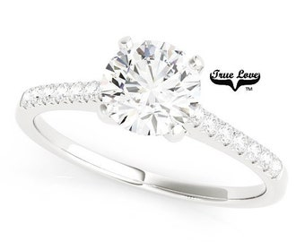 14kt. White  Gold Solitaire 1.25 Carat Round Brilliant Forever One E-F Color Moissanite  With .10 Carat side Moissanites Eng. Ring #7400S