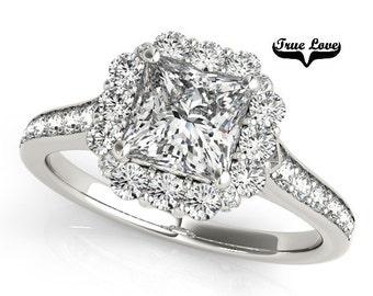 Moissanite Engagement Ring 14kt White Gold, Trek Quality #1, Wedding Ring, Side Moissanites, Halo Engagement #7278