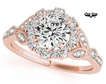 Moissanite Engagement Ring 14kt Rose Gold, Trek Quality #1, Wedding Ring, Side Moissanites, Halo #7200