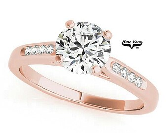 Moissanite Engagement 1,1.25.or1.5 Carat Center Trek Quality #1 D-E Colorless or GH Near Colorless VVS Clarity,Ring14 kt.Rose Gold #7393