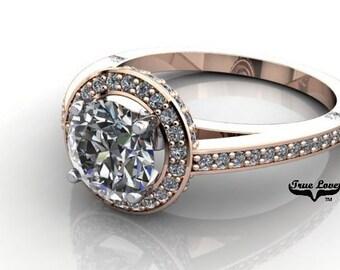 Moissanite Engagement Ring 14kt Rose Gold, Trek Quality #1, Wedding Ring, Halo, Side Moissanites #6936