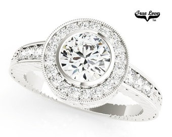 Moissanite  Trek Quality #1 Moissanite Halo Engagement Ring 14kt White Gold, Trek Quality #1, Wedding Ring #6879