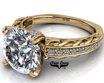Moissanite 1.5 , 2 or 3 Carat D-E Colorless or G-H near colorless Trek Quality #1 Engagement Ring 14kt Yellow Gold #6717