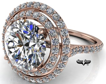 Moissanite Double Halo Engagement Ring 14 kt Rose Gold, Trek Quality #1, with side Moissanites #6984