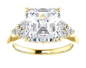 1.25,2.20 or 3.10 Carat Moissanite Trek quality #1  VVs Clarity D E F or GH Color as Listed Asscher Cut,14kt Yellow Gold, side stones #8314y