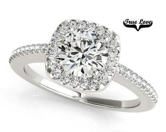 Moissanite Engagement Ring 14kt White Gold, Trek Quality #1, Wedding Ring, Halo, Side Moissanites #7287
