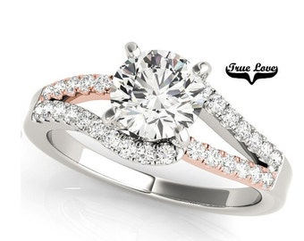 Moissanite Engagement Ring 14kt White & Rose Gold #7293