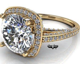 Moissanite Engagement Ring Trek Quality #1 D-E Color VVS Clarity Halo with Side Moissanites Brand: True Love 14kt Yellow Gold #7103