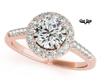 Moissanite Engagement Ring,Trek Quality #1 D-E Color  VVS Clarity,one Carat Center Halo and side Stones 14kt Rose Gold Wedding Ring #6884