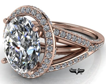 Halo Moissanite Engagement Ring Oval Cut Trek Quality #1 D-E Color VVS Clarity 14 kt Rose Gold   #6731