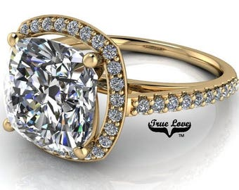 1.7 Carat,2.4 Carat or 3.3 Carat Moissanite Cushion Cut Trek Quality #1 One D-E-F or G-H Color Brand: True Love Eng. Ring 14kt Gold #7133