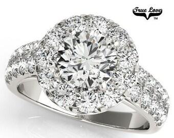 Moissanite Engagement Ring 14kt White Gold, Trek Quality #1, Wedding Ring, Halo Engagement, Side Moissanites #6855