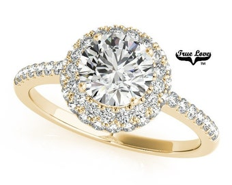 14 kt.Yellow Gold Pave set Moissanite Engagement Ring ,Trek Quality #1 D-E Color  VVS Clarity,one Carat Center Halo, Side Moissanites #7243