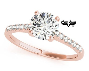 Moissanite Engagement Ring 14kt Rose Gold, Trek Quality #1, Wedding Ring, Side moissanites  #7402