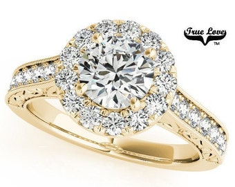 Moissanite Engagement Ring 14kt Yellow Gold #7193