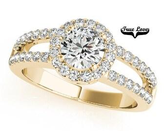 1.25 Carat 7 mm Moissanite Trek Quality#1 Brand True love Engagement Ring 14kt Yellow Gold, Wedding Ring, Split Shank, Round Halo  #7298