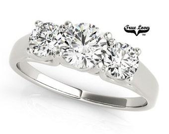 2 Carat  Moissanite Trek Quality #1 D-E Color  VVS Clarity. Brand: True Love Past Present Future  Engagement Ring 14kt White Gold  #7568