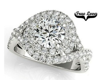 Moissanite Engagement Ring 14kt White Gold, Halo, Criss Cross Shank, Side Moissanites #7290