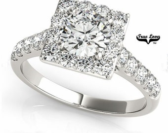 Engagement Ring 14kt White Gold,Moissanite Trek Quality #1, Wedding Ring, Square Halo, Side Moissanites   #7226