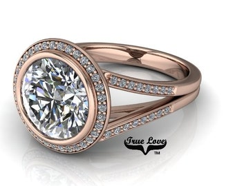 Moissanite Engagement Ring 14 kt Rose Gold,   Halo, Bezel Setting, Side Moissanites, Split Shank #6896