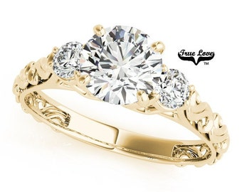 1 Carat Moissanite Engagement Ring 14 kt.Yellow Gold Center Round Brilliant Cut Trek Quality #1 With .25 Carat tw Side Moissanites #7494