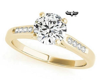 Moissanite Engagement 1,1.25.or1.5 Carat Center Trek Quality #1 D-E-F Colorless or GH Near Colorless VVS Clarity,Ring14 kt.Yellow Gold #7392