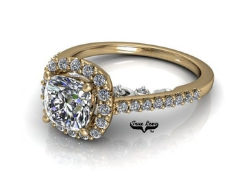 Moissanite Engagement Ring 14kt Yellow Gold #7911