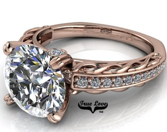 Moissanite 1.5 , 2 or 3 Carat D-E Colorless or G-H near colorless Trek Quality #1 Engagement Ring 14kt Rose Gold #6718