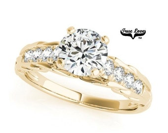 1 Carat Moissanite Engagement Ring 14kt Yellow Gold, Trek Quality #1, Wedding Ring,Round Engagement,Side Moissanites  #7316