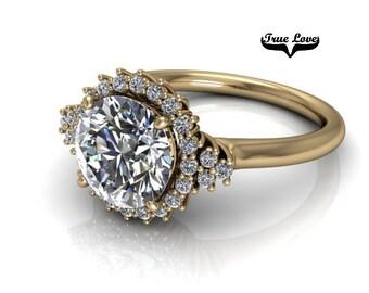 Moissanite Engagement Ring 14kt Yellow Gold #7873