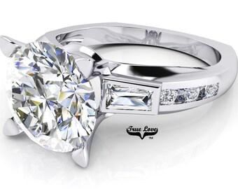 Moissanite Engagement Ring Trek Quality #1 D-E Color 14 kt  White Gold #7072