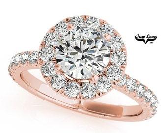 Moissanite Engagement Ring 14kt Rose Gold, Trek Quality #1, Wedding Ring, Halo, Side Moissanites #7174
