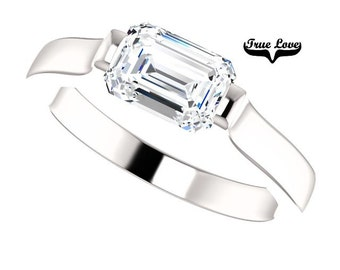 Moissanite Engagement Ring 14kt White Gold, Wedding Ring, Emerald Cut Engagement #7783