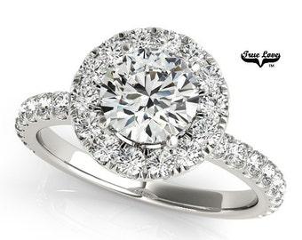Moissanite Engagement Ring 14kt White Gold, Forever One, Wedding Ring, Forever One, Wedding Ring, Halo engagement, Side Moissanites #7172