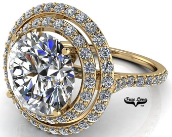 Moissanite Double Halo Engagement Ring 14 kt Yellow Gold, Trek Quality #1, with side Moissanites #7076