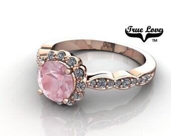 14 kt. Rose Gold .55 Carat 5.2mm Round Salmon Pink Morganite with .27 carat tw Halo &  Side Moissanites Engagement Ring. #7110