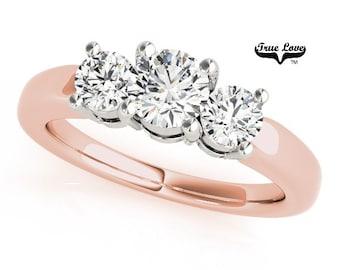 Moissanite Engagement Ring 14kt Rose Gold, Trek Quality #1, Wedding Ring, Three Stone Engagement, Trinity, Past Present Future #7558
