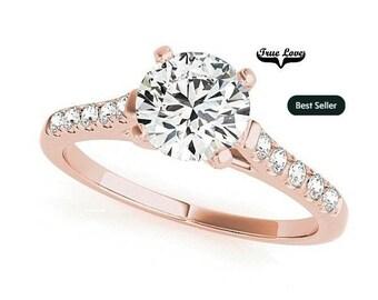 Moissanite Engagement Ring 14kt Rose Gold, Trek Quality #1, Wedding Ring, Side Moissanites #7350