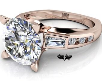 Moissanite Engagement Ring Trek Quality #1 D-E Color 14 kt  Rose Gold #6972