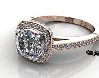 Moissanite Engagement Ring 14kt Rose Gold, Trek Quality #1, Wedding Ring, Halo, Side Moissanites  #6935